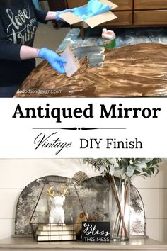 You gotta try this easy DIY finish on an old mirror the next time you think about throwing them away. In 4 easy steps, you can create a beautiful antiqued mirror. and you can customize it to your home decor colors. What do you think? Home Decor Colors, Easy Home Decor, Colorful Decor, Old Mirrors, Vintage Mirrors, Painted Mirrors, Antiqued Mirror, Distressed Mirror, Mirror Makeover