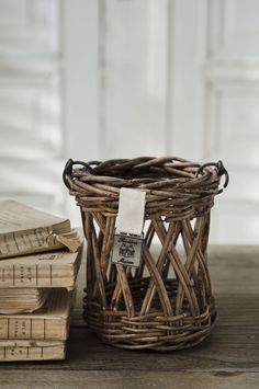 rustic rattan lantern basket