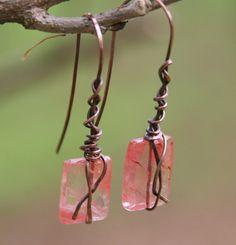 Oooooh! Ballerina Slipper Earrings. Pink Lemonade Quartz Copper Wire Wrapped by AllowingArtDesigns, $18.00