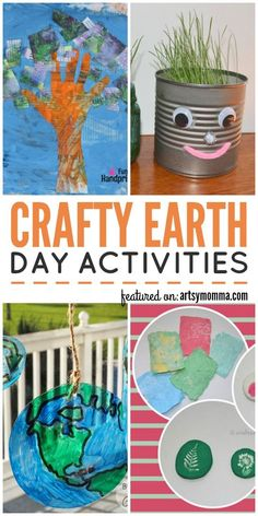 Crafty Earth Day Activities including recycled crafts, earth projects, & more! Source by kidscraftroom Recycled Crafts Kids, Recycled Art Projects, Diy Craft Projects, Projects For Kids, Diy For Kids, Crafts For Kids, Big Kids, Easy Crafts, Earth Day Games