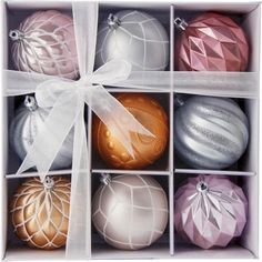 Pack of 9 Pink & Silver Baubles 275701 £4.99