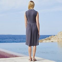 Deep V Jersey Dress - Graphite from The White Company. Beautiful for evenings on holiday