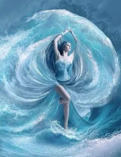 Sea dress by ElenaDudina on anu fantasy/anime Sea Dress, Montage Photo, Water Element, Fantasy Kunst, 5d Diamond Painting, Fantasy Girl, Fantasy Love, Gods And Goddesses, Character Art