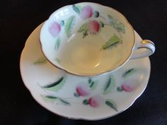 VINTAGE Teacup Demitasse set 1950s Thistle by CountryCoveCreations, $6.50