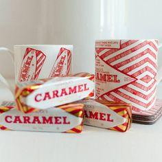 Part of a great collection of Scottish mugs and cups by Gillian Kyle, this mug features Tunnocks caramel wafer wrapper print in classic red and white. Toffee Candy, Scottish Gifts, Buy Gifts Online, Gifts Australia, Chocolate Sweets, Just Cakes, China Mugs, Personalized Mugs, Tea Cakes