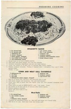 #MeatBalls #SpaghettiSauce #Recipe #Vintage, 1950 Food-Talks From The Mirro Test Kitchen, Volume 25 No. 2, 1951 via @amazon http://www.amazon.com/gp/product/B01I65P6DQ/ref=cm_sw_r_tw_myi?m=A3FJDCC1SFO8CE