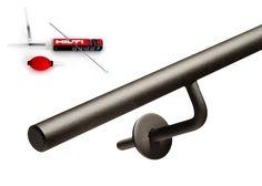 Trapleuning Staal met Glooiing - Rond - Blinde montage - Ronde rozet   Bestel Direct! Handgemaakte trapleuningen bestel je bij de Trapleuningspecialist.nl