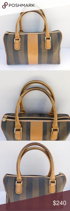 """AUTHENTIC VINTAGE FENDI BOSTON BAG BRAND- FENDI  COLOR- TAN  MATERIAL- COATED CANVAS/LEATHER  STYLE- SATCHEL  SIZE- 12"""" length, 8"""" height, 5"""" width  FEATURES-TOP ZIPPER CLOSURE, 1 MAIN COMPARTMENT INSIDE AND 1 ZIPPER POCKET.  CONDITION- PRE-OWNED VINTAGE GOOD, MINOR SCUFFS ON BOTTOM CORNERS, HEAVY COLOR LOSS ON HANDLES HAVE DARKEN FROM WEAR. INSIDE- A SPOT OF CLEAR NAIL POLISH.  THIS ITEM SHOWS SIGNS OF WEAR ON THE HANDLES, SEE PHOTOS.  Bin- PB 13  PLEASE ASK QUESTIONS IF YOU HAVE ANY, I AM…"""