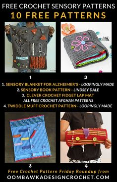 You will find crochet patterns for sensory sleeves, fidget mats, sensory books, cannula sleeves and twiddle muffs in this collection. Crochet Stitches Patterns, Crochet Patterns For Beginners, Afghan Crochet Patterns, Crochet Designs, Crochet Tutorials, All Free Crochet, Crochet Girls, Crochet Round, Crochet Home