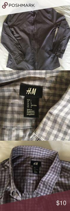 H&M XL Grey checkered collared shirt *new* Brand new never worn H&M Shirts Dress Shirts