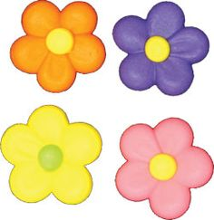 "Flower Power Assortment. Royal Icing. 1 1/8"" - Item #411969. Certified Kosher. Gluten Free. Nut Free. Dairy Free. 0 gram Trans Fats."