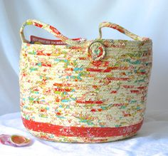 $80 #Coral #Coiled #Basket #Handmade #Peach Fabric #Hamper by #Wexford #Treasures  #magazine #holder