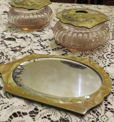 Three Piece Pink Depression Glass Celluloid Vanity Set Jars Dish Bowl Mirror