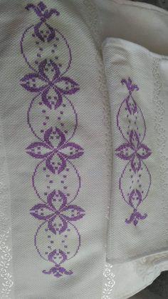 Crochet Flower Squares, Crochet Flowers, Cross Stitch Designs, 1940s, Towels, Embroidery, Cross Stitch Rose, Cross Stitch Patterns, Cross Stitch Alphabet