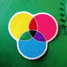 CMYK Embroidered Iron On Patch CMYK Patch by fairycakes on Etsy #patches