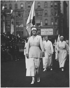 Red Cross workers parade in New York City on October