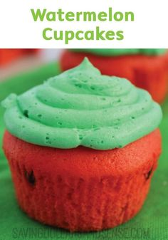 Embrace the fruit flavors of summer with these adorable Homemade Watermelon Cupcakes, made with red cake and chocolate chips and topped with a bright green icing for a cute kid-friendly dessert recipe.