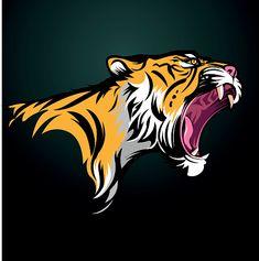 Vector illustration Tiger fierce with open mouth vector art illustration Tiger Illustration, Graphic Design Illustration, Serial Art, Tiger Vector, Tiger Tattoo Design, Lion Logo, Tiger Art, Game Logo, Free Vector Art