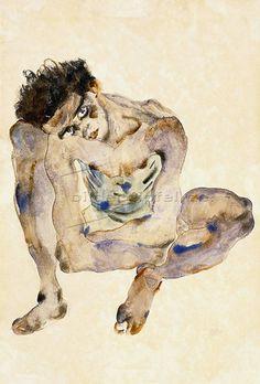 Squatting Man (Self Portrait) - Egon Schiele, 1912 Figure Painting, Figure Drawing, Painting & Drawing, Gustav Klimt, Egon Schiele Drawings, Dark Fantasy, Amedeo Modigliani, Edvard Munch, Art Brut