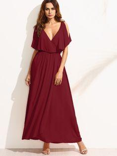 Surplice Front Split Cape Dress -SheIn(Sheinside)