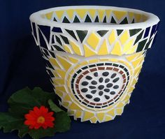 Mosaic Flower Pot / Planter - Cheerful Sunflower Design (dark center)