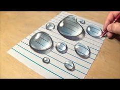 Drawing  Water Drops on Line Paper - How to Draw 3D Water Drops - Realis...