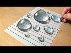 Смотреть онлайн видео Drawing Water Drops on Line Paper - How to Draw Water Drops - Realistic Trick Art - VamosART 3d Art Drawing, Water Drawing, Drawing Skills, Drawing Techniques, Painting & Drawing, Texture Drawing, Body Painting, Drawings On Lined Paper, 3d Drawings