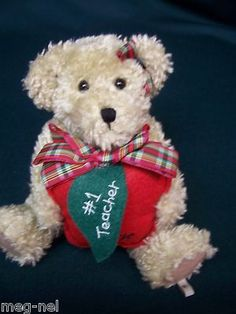 Boyds Bear Plush * Miss Beasley * #1 Teacher Bear with Apple Plaid Bow Christmas