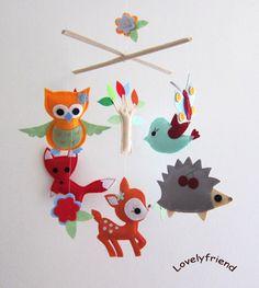 "Baby Crib Mobile - Baby Mobile - Felt Mobile - Nursery mobile - "" Woodland deer, fox, owl ,bird, hedgehog"" design (Custom Color Available). $78.00, via Etsy."