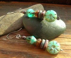 Aqua Sea Rustic Stack Picasso Finish Czech Glass and by kmaylward