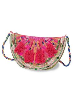 Beaded water Melon Clutch hand Bag purse sequin