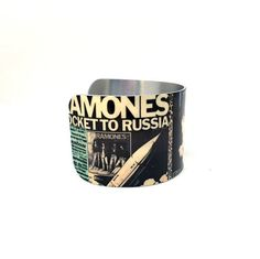 Christmas Gift for Teens - Hard Core Music Jewelry - Punk Rock Cuff Bracelet - Rock Posters - Collage Art Jewelry - Sku R17-002