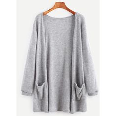Grey Elastic Cuff Cardigan With Pockets (3.355 HUF) ❤ liked on Polyvore featuring tops, cardigans, outerwear, jackets, shirts, grey, loose shirt, long sleeve polyester shirts, polyester shirt and long sleeve shirts