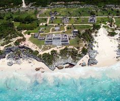 Bird's-eye view of the precolumbian Mayan city of Tulum.