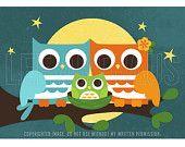 88B Bright Moonlight Owls with Baby Boy 5x7 Print