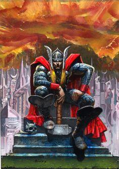 Thor on His Throne - Simon Bisley