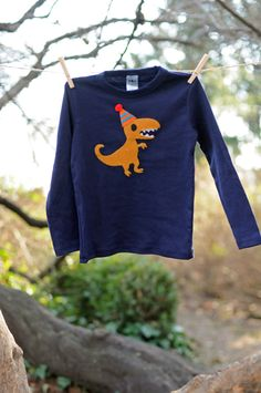 T-Rex Navy Blue Birthday T-shirt - American Apparel Long Sleeve Tee - Felt Handstitched T Rex Dinosaur Appliqué - Toddler or Baby Boy. $27.00, via Etsy.