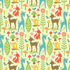 FLANNEL Riley Blake Woodland Tails Green by SewAdorableFabric, $9.00