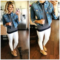 Perfect Denim Jacket // Cropped Denim Jacket // Closet Staple Piece // White Jeans Outfit // Nautical Outfit // Navy and White Striped Top with White Jeans and a Cropped Denim Jacket // Spring Outfit // Wedge Sandals // Spring Fashion #shopthelook #perfectdenimjacket #croppeddenimjacket #closetstaplepiece #whitejeansoutfit #nauticaloutfit #navyandwhitestripedtop #whitejeans #wedgesandals #springoutfitinspiration #springfashion