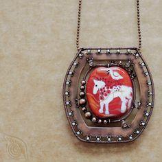 necklace Red horse; copper wire & sheet, lampwork bead, onyx, citrine, rocail; patina, wire-wrapping; by Nady (http://www.nady.cz/nahrdelniky/tapiserie-s-konem-nahrdelnik-234/)