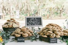 Cookie Dessert Wedding Bar with Love is Sweet Chalkboard Sign