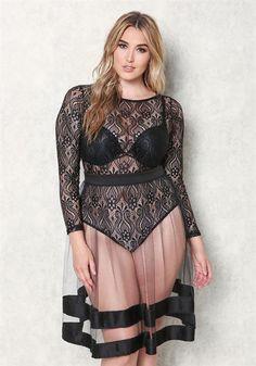 Plus Size Lace Brocade Bodysuit
