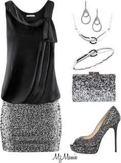 glittery silver and black, a perfect outfit for a Christmas night out.