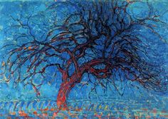 Avond (Evening): The Red Tree, 1910 by Piet Mondrian. Post-Impressionism. landscape. Haags Gemeentemuseum, The Hague, Netherlands