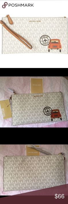 "Michael Kors Drive Away large wristlet /price firm Brand new with tag Authentic!! Fast shipping  A retro-inspired travel illustration lends jet-set charm to a MICHAEL Michael Kors clutch cast in coated faux leather with a wristlet strap for portability. 	•	9-7/8""W x 5-1/2""H x 5/8""D 	•	Interior features 1 slip pocket and 6 card slots 	•	7""L wrist strap 	•	Zip closure 	•	Exterior features gold-tone hardware 	•	MK signature coated twill faux leather; strap: leather; lining: polyester…"