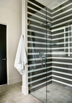Bathroom shower tile black white stripes