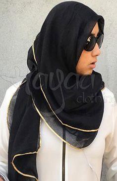 """Hayaa Clothing - ALY Gold Trim Hijab Shawl Scarf 30""""x 70"""", $12.00 (http://www.hayaaclothing.com/aly-gold-trim-hijab-shawl-scarf-30x-70/)"""