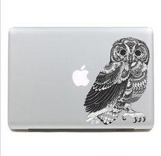 Owl Macbook Decal Macbook Stickers Macbook pro Skin air Decals Apple Cover Decal iPad sticker Laptop decals. $12.99, via Etsy.