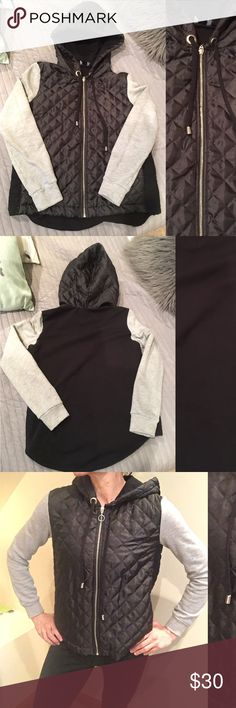 TRF by ZARA black and grey hoodie Worn but great condition, zipper front closure, size M womens jacket/hoodie Zara Tops Sweatshirts & Hoodies