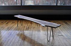 Walnut Bench steel legs live edge por SlowDesignFurniture en Etsy